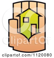 Clipart Of A House In The Palm Of A Hand 9 Royalty Free Vector Illustration