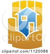 Clipart Of A House In The Palm Of A Hand 5 Royalty Free Vector Illustration