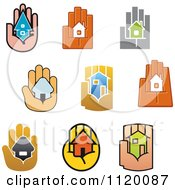 Clipart Of Houses In The Palms Of Hands Royalty Free Vector Illustration