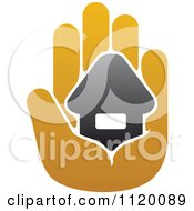 Clipart Of A House In The Palm Of A Hand 7 Royalty Free Vector Illustration