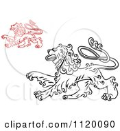 Clipart Of Long Haired Heraldic Lions Royalty Free Vector Illustration