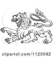 Clipart Of A Black And White Long Haired Heraldic Lion Royalty Free Vector Illustration