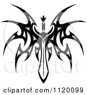 Clipart Of A Black And White Tribal Winged Sword 4 Royalty Free Vector Illustration by Vector Tradition SM
