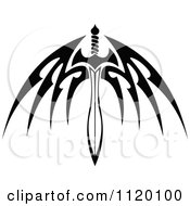 Clipart Of A Black And White Tribal Winged Sword 3 Royalty Free Vector Illustration by Vector Tradition SM
