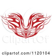 Clipart Of Red Tribal Flaming Motorcycle Biker Handlebars Royalty Free Vector Illustration