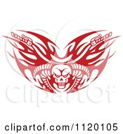 Clipart Of Red Tribal Flaming Skull Motorcycle Biker Handlebars Royalty Free Vector Illustration