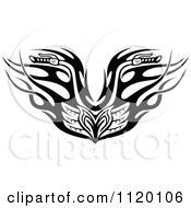 Clipart Of Black And White Tribal Flaming Motorcycle Biker Handlebars Royalty Free Vector Illustration