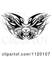 Clipart Of Black And White Tribal Flaming Skull Motorcycle Biker Handlebars Royalty Free Vector Illustration