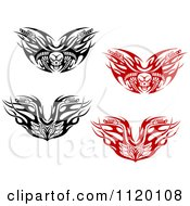 Clipart Of Black And White And Red Tribal Flaming Skull Motorcycle Biker Handlebars Royalty Free Vector Illustration