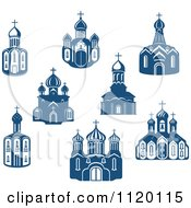 Clipart Of Blue Church Buildings Royalty Free Vector Illustration