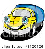 Cartoon Of A Happy Yellow Delivery Truck Or Big Rig Royalty Free Vector Clipart