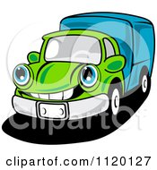 Cartoon Of A Happy Green Delivery Truck Or Big Rig Royalty Free Vector Clipart