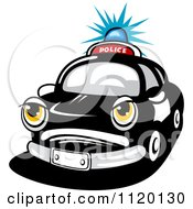 Clipart Of An Angry Police Car With A Flashing Siren Light Royalty Free Vector Illustration