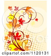Clipart Of A Scroll Vine With Autumn Leaves Over Halftone On Tan Royalty Free Vector Illustration