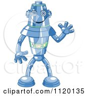 Cartoon Of A Happy Blue Metal Robot Waving Royalty Free Vector Clipart