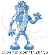 Cartoon Of A Happy Blue Metal Robot Waving Royalty Free Vector Clipart