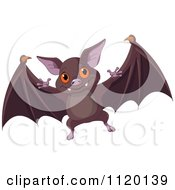 Cartoon Of A Cute Flying Vampire Bat Royalty Free Vector Clipart by Pushkin
