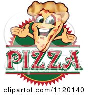 Cartoon Of A Happy Pizza Mascot Sign Or Logo 2 Royalty Free Vector Clipart