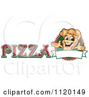 Cartoon Of A Happy Pizza Mascot Sign Or Logo 3 Royalty Free Vector Clipart