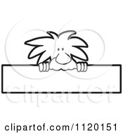 Cartoon Of A Black And White Albert Einstein Scientist Sign Or Logo 2 Royalty Free Vector Clipart by Toons4Biz
