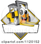 Cartoon Of A Happy Forklift Mascot Sign Or Logo Royalty Free Vector Clipart