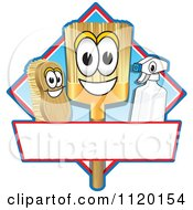 Cartoon Of A Happy Broom Scrub Brush And Spray Bottle Mascots On A Blue And Red Cleaning Sign Or Logo Royalty Free Vector Clipart