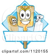 Cartoon Of A Happy Broom Scrub Brush And Spray Bottle Mascots On A Blue Cleaning Sign Or Logo Royalty Free Vector Clipart