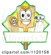 Cartoon Of A Happy Broom Scrub Brush And Spray Bottle Mascots On A Yellow Cleaning Sign Or Logo Royalty Free Vector Clipart
