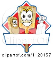 Cartoon Of A Happy Broom Scrub Brush And Spray Bottle Mascots On A Red Cleaning Sign Or Logo Royalty Free Vector Clipart