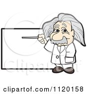 Cartoon Of An Albert Einstein Scientist Sign Or Logo 1 Royalty Free Vector Clipart by Toons4Biz