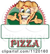 Cartoon Of A Happy Pizza Mascot Sign Or Logo 1 Royalty Free Vector Clipart