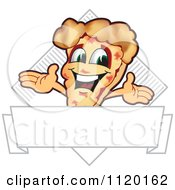 Cartoon Of A Happy Pizza Mascot Sign Or Logo 7 Royalty Free Vector Clipart
