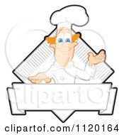 Cartoon Of A Presenting Chef Logo Or Sign Royalty Free Vector Clipart