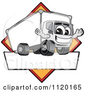 Cartoon Of A Happy Delivery Big Rig Truck Mascot Sign Or Logo With A Yellow Diamond Royalty Free Vector Clipart by Toons4Biz