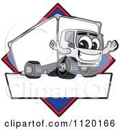 Cartoon Of A Happy Delivery Big Rig Truck Mascot Sign Or Logo With A Blue Diamond Royalty Free Vector Clipart