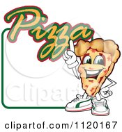 Cartoon Of A Happy Pizza Mascot Sign Or Logo 4 Royalty Free Vector Clipart