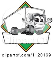 Cartoon Of A Happy Delivery Big Rig Truck Mascot Sign Or Logo With A Green Diamond Royalty Free Vector Clipart by Toons4Biz