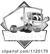 Cartoon Of A Happy Grayscale Delivery Big Rig Truck Mascot Sign Or Logo Royalty Free Vector Clipart by Toons4Biz