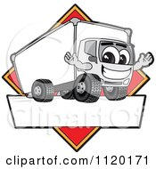 Happy Delivery Big Rig Truck Mascot Sign Or Logo With A Red Diamond