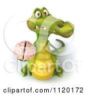 Clipart Of A 3d Crocodile Holding A Brain 1 Royalty Free CGI Illustration