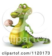 Clipart Of A 3d Crocodile Holding A Brain 2 Royalty Free CGI Illustration