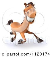 Clipart Of A 3d Happy Horse Running 1 Royalty Free CGI Illustration