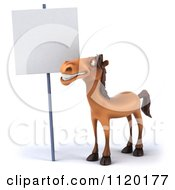 Clipart Of A 3d Happy Horse Standing By A Sign 2 Royalty Free CGI Illustration