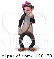 Clipart Of A 3d Giggling Female Chimp Royalty Free CGI Illustration