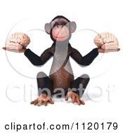Clipart Of A 3d Chimp Holding Two Brains Royalty Free CGI Illustration