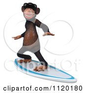 Clipart Of A 3d Chimp Wearing Shades And Surfing 2 Royalty Free CGI Illustration