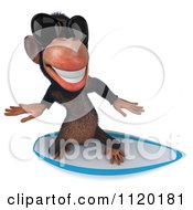 Clipart Of A 3d Chimp Wearing Shades And Surfing 3 Royalty Free CGI Illustration