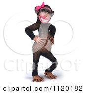 Clipart Of A 3d Flirty Female Chimp Royalty Free CGI Illustration