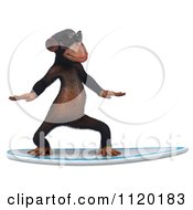 Clipart Of A 3d Chimp Wearing Shades And Surfing 1 Royalty Free CGI Illustration