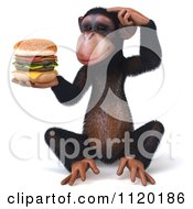 Clipart Of A 3d Thinking Chimp Holding A Cheeseburger 1 Royalty Free CGI Illustration